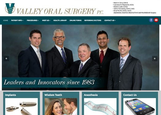 Valley Oral Surgery's new website designed by Dekka Studios features new photography and is mobile-friendly.